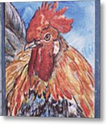 Rooster Country Painting On Blue  Metal Print
