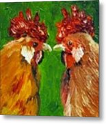 Rooster Face Off Metal Print