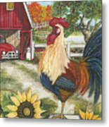 Rooster On The Apple Farm Metal Print