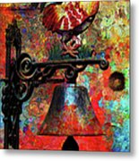 Rooster On The Door Whimsy Metal Print