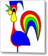 Rooster Rainbow Metal Print