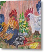 Rooster Ranch Metal Print