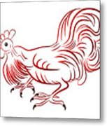 Rooster - Sign Of Chinese New Year Metal Print