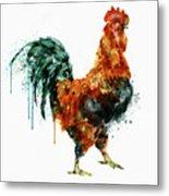 Rooster Watercolor Painting Metal Print