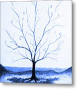 Roots Of A Tree In Blue Metal Print