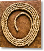 Rope On Leather Metal Print
