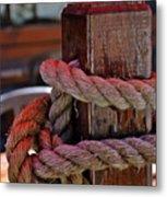 Rope On Wood Metal Print