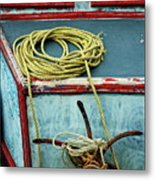 Ropes And Rusty Anchors On A Boat Deck Metal Print