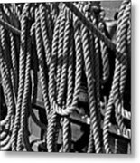 Ropes For The Rigging Bw 1 Metal Print