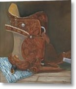 Roping Saddle Metal Print