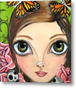 Rose Amongst The Butterflies Metal Print
