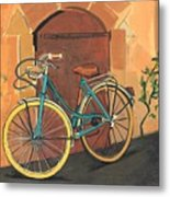 Rose And Bicycle Metal Print