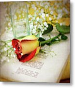 Rose And Bottle Metal Print
