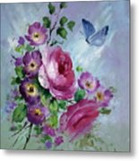 Rose And Butterfly Metal Print