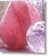 Rose And Clear Quartz 1 Metal Print