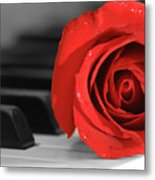 Rose And Piano Metal Print