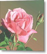 Rose And Two Buds Metal Print