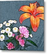 Rose Baby Breath And Lilly Metal Print