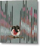 Rose Breasted Grosbeak And Song Metal Print