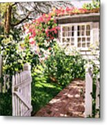 Rose Cottage Gate Metal Print by David Lloyd Glover