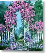 Rose-covered Trellis Metal Print