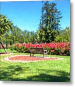 Rose Garden Benches Impressionist Digital Painting Metal Print