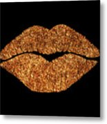 Rose Gold Texture Kiss, Lipstick On Pouty Lips, Fashion Art Metal Print