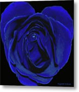 Rose Heart In Blue Velvet Metal Print