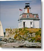 Rose Island Light Metal Print by Susan Cole Kelly