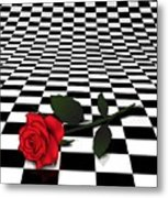 Rose On Black And White #0073 Metal Print