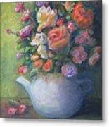 Rose Petal Tea Pot Metal Print