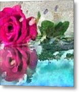 Rose Reflected Fragmented In Thick Paint Metal Print