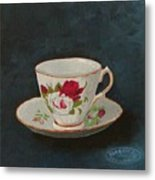 Rose Teacup Metal Print
