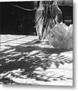 Rose Vase In Shadows Black And White Metal Print