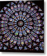 Rose Window At Notre Dame Cathedral Paris Metal Print