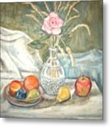 Rose With Fruit Metal Print