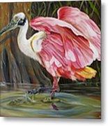 Roseate Spoonbill In A Cypress Swamp Metal Print