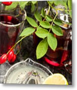 Rosehip Tea With Lemon In Glass Metal Print