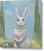 Rosemary Rabbit Metal Print