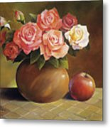 Roses And Apple Metal Print by Han Choi - Printscapes
