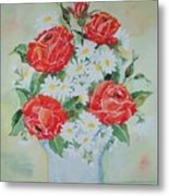 Roses And Daises Metal Print