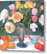 Roses And Fruit Metal Print