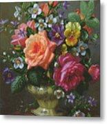 Roses And Pansies Metal Print