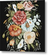 Roses And Poppies Bouquet Metal Print