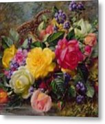 Roses By A Pond On A Grassy Bank  Metal Print