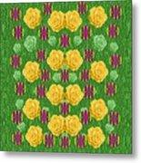 Roses Dancing On A Tulip Field Of Festive Colors Metal Print
