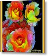 Roses For Anne Catus 1 No. 3 V A With Decorative Ornate Printed Frame. Metal Print