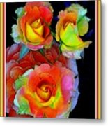 Roses For Anne Catus 1 No. 3 V B With Decorative Ornate Printed Frame. Metal Print
