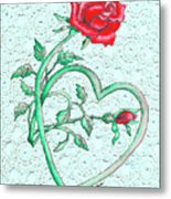 Roses Hearts And Lace Flowers Design  Metal Print