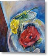 Roses In A Fish Bowl Metal Print